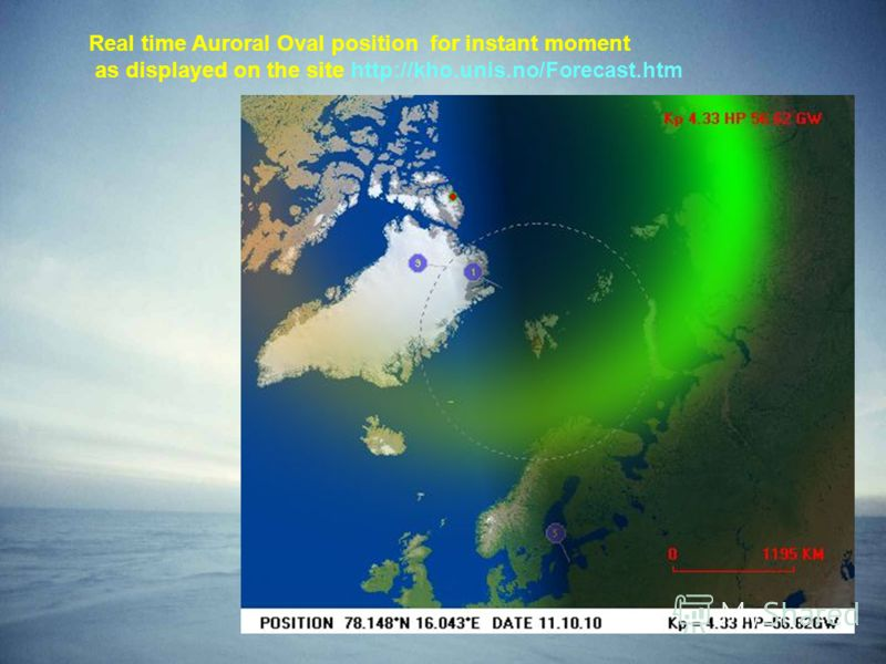 Real time Auroral Oval position for instant moment as displayed on the site http://kho.unis.no/Forecast.htm