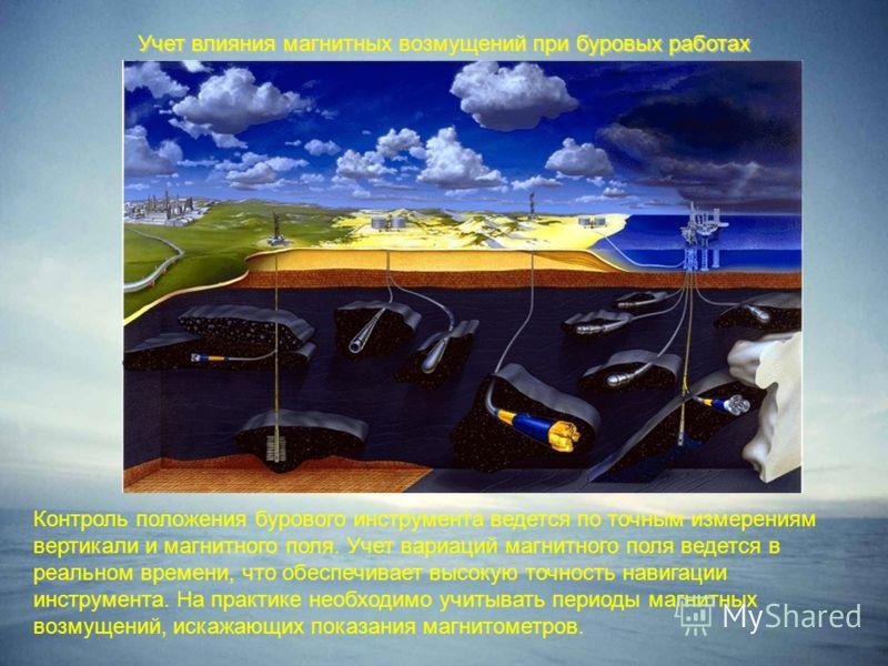 Учет влияния магнитных возмущений при буровых работах Контроль положения бурового инструмента ведется по точным измерениям вертикали и магнитного поля. Учет вариаций магнитного поля ведется в реальном времени, что обеспечивает высокую точность навига