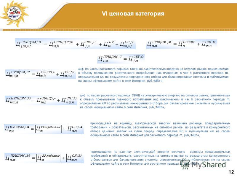 12 VI ценовая категория диф. по часам расчетного периода СВНЦ на электрическую энергию на оптовом рынке, применяемая к объему превышения фактического потребления над плановым в час h расчетного периода m, определяемая КО по результатам конкурентного