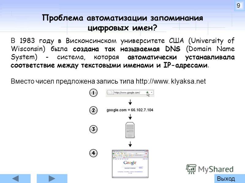 Выход9 Проблема автоматизации запоминания цифровых имен? В 1983 году в Висконсинском университете США (University of Wisconsin) была создана так называемая DNS (Domain Name System) - система, которая автоматически устанавливала соответствие между тек