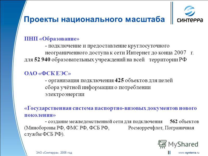 www.synterra.ru ЗАО «Синтерра», 2008 год Проекты национального масштаба ПНП «Образование» - подключение и предоставление круглосуточного неограниченного доступа к сети Интернет до конца 2007 г. для 52 940 образовательных учреждений на всей территории