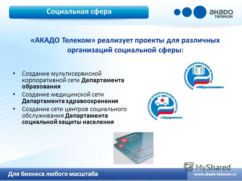 Для бизнеса любого масштаба www.akado-telecom.ru Социальная сфера Создание мультисервисной корпоративной сети Департамента образования Создание медицинской сети Департамента здравоохранения Создание сети центров социального обслуживания Департамента