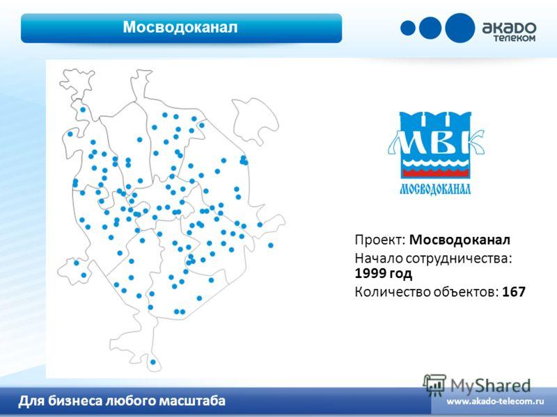 Для бизнеса любого масштаба www.akado-telecom.ru Мосводоканал Проект: Мосводоканал Начало сотрудничества: 1999 год Количество объектов: 167