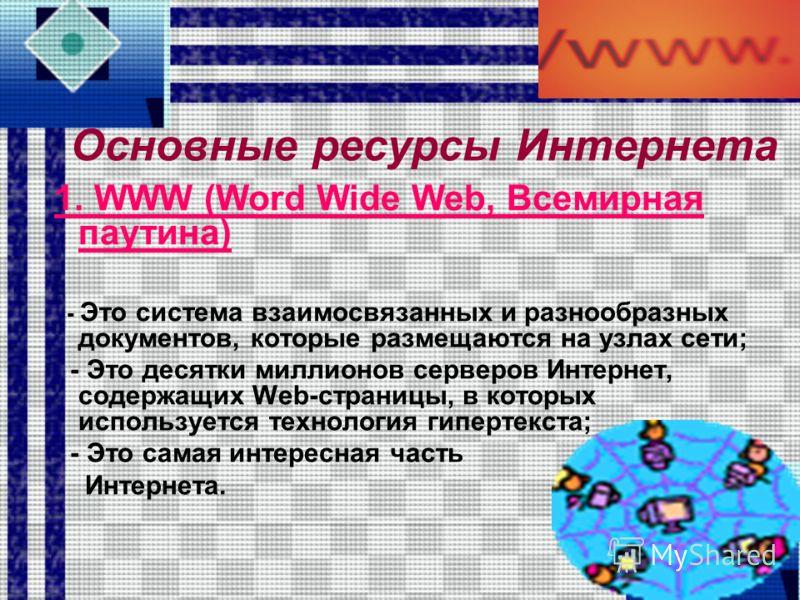 Ресурсы Интернета Для работы с ресурсами Интернета нужны: узлы-серверы, их содержащие, и клиент-программы. Клиент-программа – это программа, запущенная на компьютере пользователя в целях доступа к ресурсам Интернета. Сервер – это специально выделенны