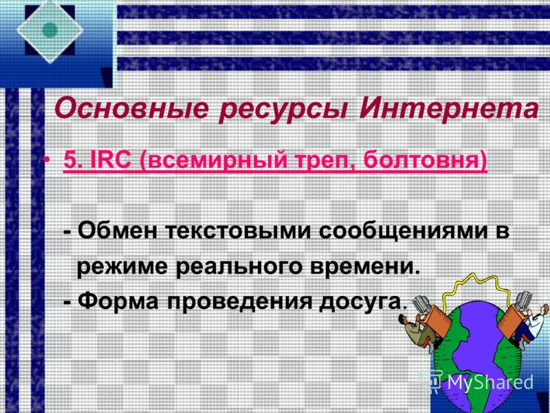 4. Телеконференции (группы новостей, новости Usenet, конференции Usenet) - Это форма общения людей на определенную тему.