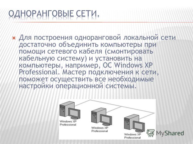 Для построения одноранговой локальной сети достаточно объединить компьютеры при помощи сетевого кабеля (смонтировать кабельную систему) и установить на компьютеры, например, ОС Windows XP Professional. Мастер подключения к сети, поможет осуществить в