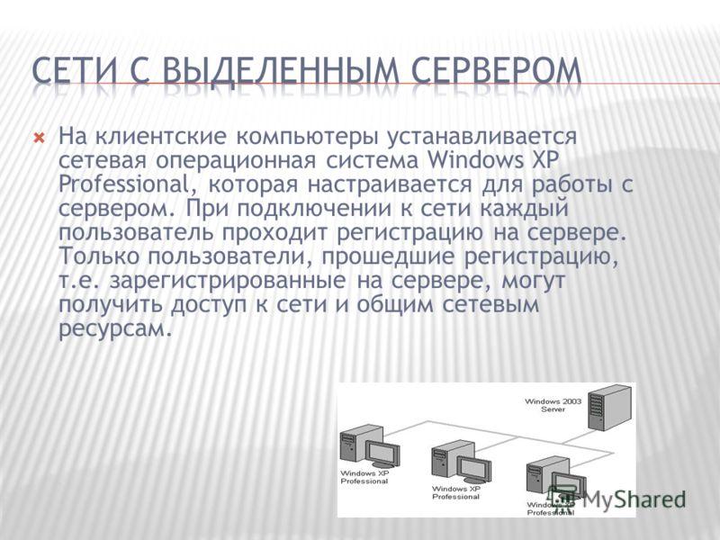 На клиентские компьютеры устанавливается сетевая операционная система Windows XP Professional, которая настраивается для работы с сервером. При подключении к сети каждый пользователь проходит регистрацию на сервере. Только пользователи, прошедшие рег