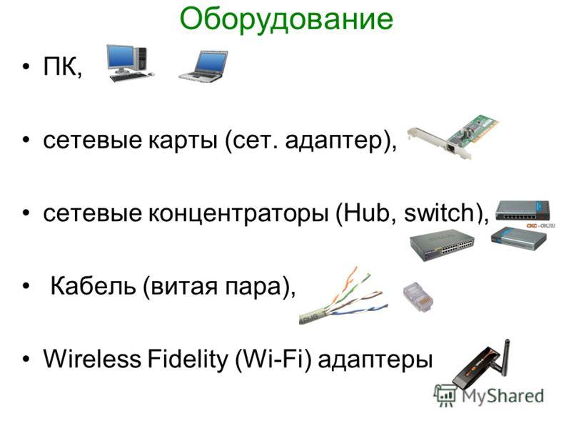 Оборудование ПК, сетевые карты (сет. адаптер), сетевые концентраторы (Hub, switch), Кабель (витая пара), Wireless Fidelity (Wi-Fi) адаптеры
