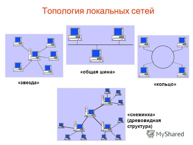 Топология локальных сетей «звезда» «общая шина» «кольцо» «снежинка» (древовидная структура)