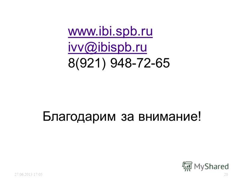 27.06.2013 17:0720 Благодарим за внимание! www.ibi.spb.ru ivv@ibispb.ru 8(921) 948-72-65