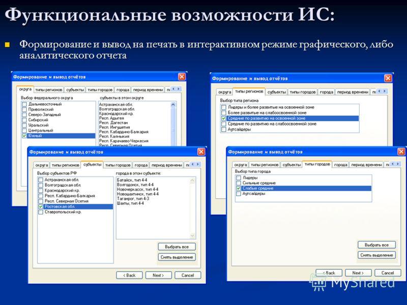 Функциональные возможности ИС: Формирование и вывод на печать в интерактивном режиме графического, либо аналитического отчета Формирование и вывод на печать в интерактивном режиме графического, либо аналитического отчета