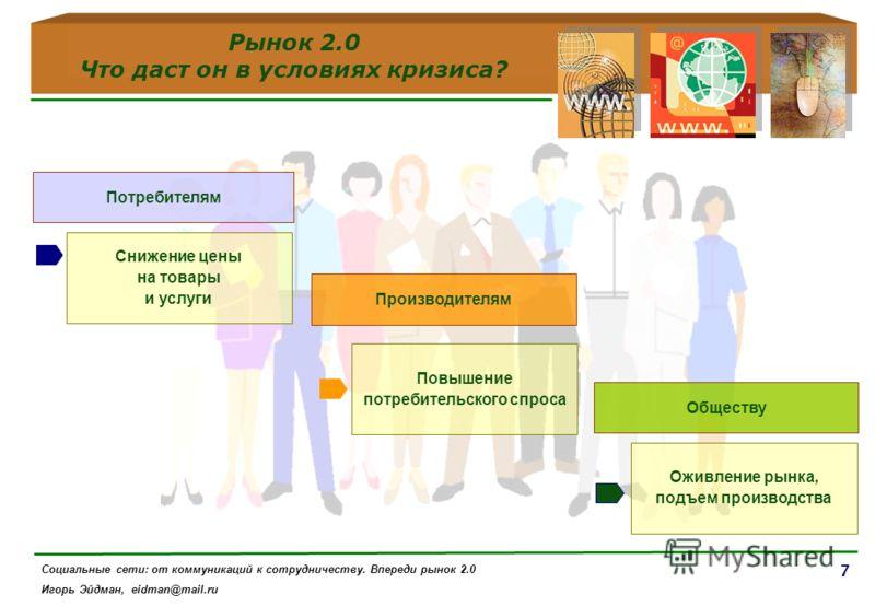 7 Рынок 2.0 Что даст он в условиях кризиса? Потребителям Снижение цены на товары и услуги Производителям Обществу Повышение потребительского спроса Оживление рынка, подъем производства Социальные сети: от коммуникаций к сотрудничеству. Впереди рынок