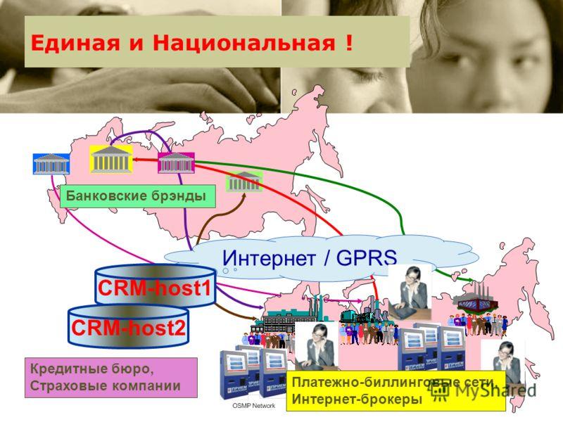 Вот она эта инфраструктура: Интернет / GPRS CRM-host1 Банковские брэнды Платежно-биллинговые сети, Интернет-брокеры CRM-host2 Кредитные бюро, Страховые компании Единая и Национальная !