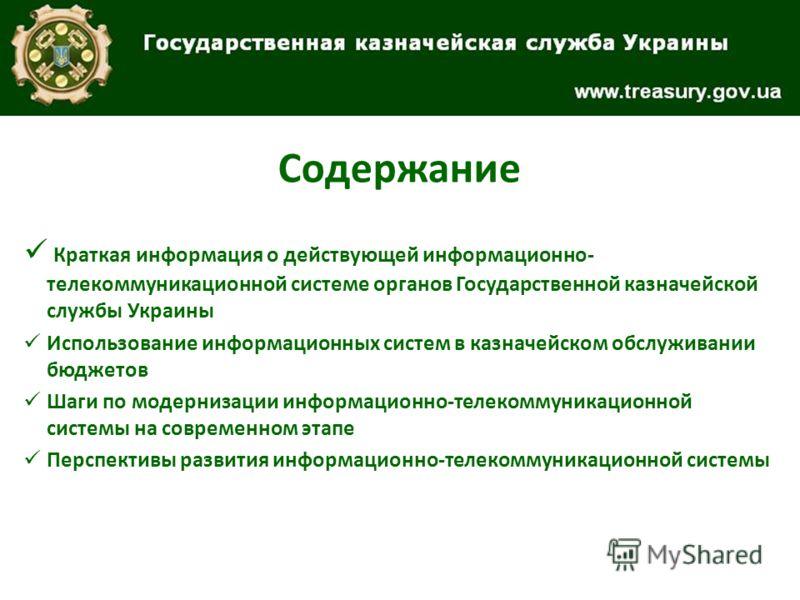 Содержание Краткая информация о действующей информационно- телекоммуникационной системе органов Государственной казначейской службы Украины Использование информационных систем в казначейском обслуживании бюджетов Шаги по модернизации информационно-те