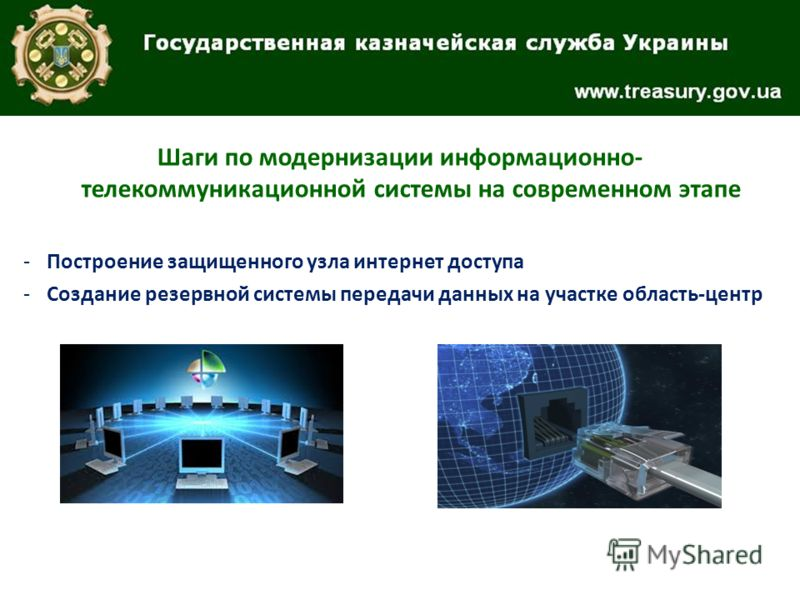 Шаги по модернизации информационно- телекоммуникационной системы на современном этапе -Построение защищенного узла интернет доступа -Создание резервной системы передачи данных на участке область-центр