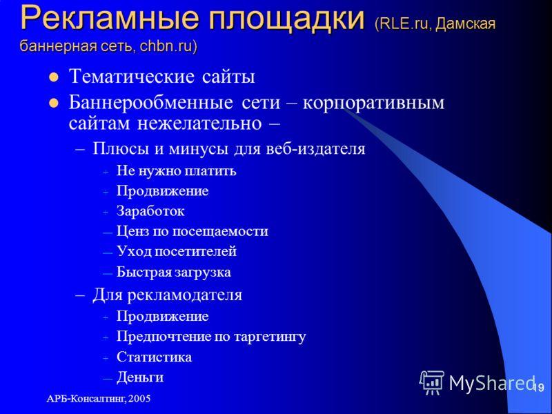 АРБ-Консалтинг, 2005 19 Рекламные площадки (RLE.ru, Дамская баннерная сеть, chbn.ru) Тематические сайты Баннерообменные сети – корпоративным сайтам нежелательно – –Плюсы и минусы для веб-издателя + Не нужно платить + Продвижение + Заработок Ценз по п