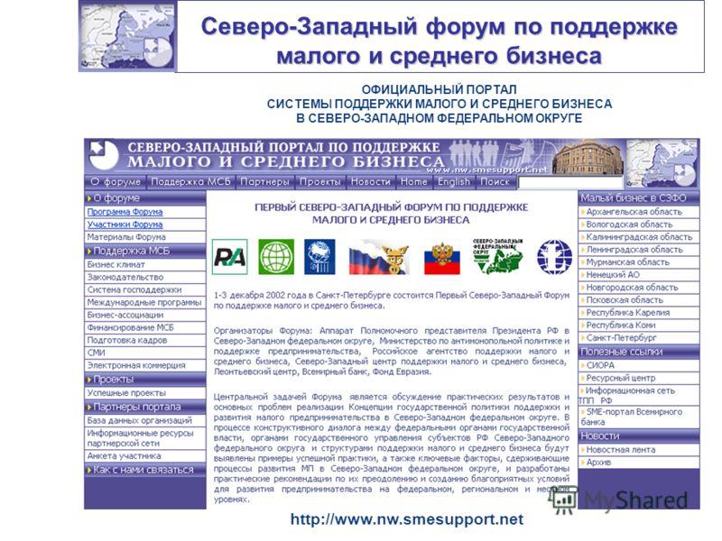 Северо-Западный форум по поддержке малого и среднего бизнеса ОФИЦИАЛЬНЫЙ ПОРТАЛ СИСТЕМЫ ПОДДЕРЖКИ МАЛОГО И СРЕДНЕГО БИЗНЕСА В СЕВЕРО-ЗАПАДНОМ ФЕДЕРАЛЬНОМ ОКРУГЕ http://www.nw.smesupport.net