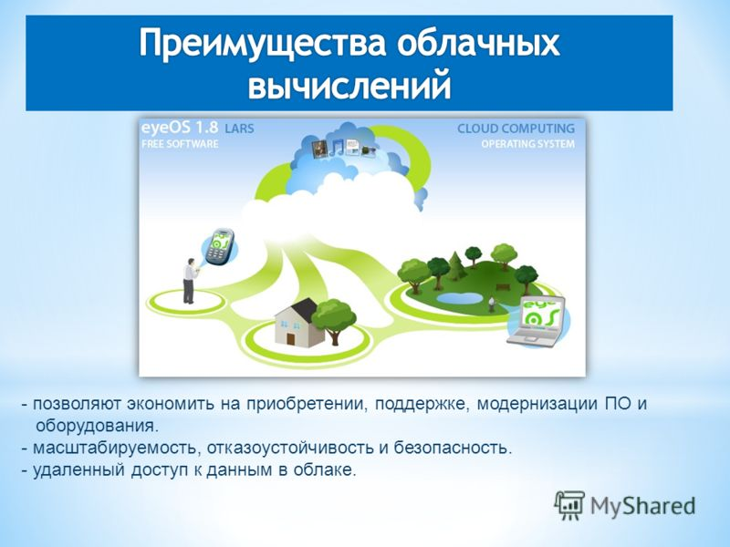 - позволяют экономить на приобретении, поддержке, модернизации ПО и оборудования. - маcштабируемость, отказоустойчивость и безопасность. - удаленный доступ к данным в облаке.