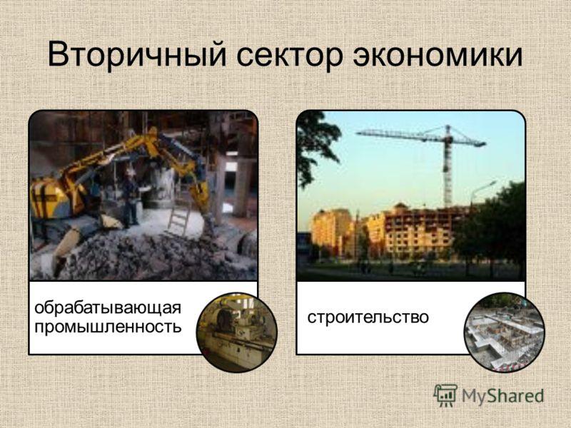 Вторичный сектор экономики обрабатывающая промышленность строительство