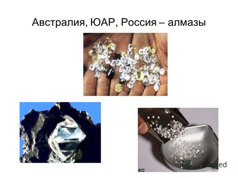 Австралия, ЮАР, Россия – алмазы