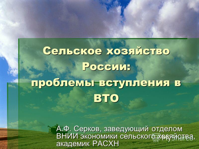 Сельское хозяйство России: проблемы вступления в ВТО А.Ф. Серков, заведующий отделом ВНИИ экономики сельского хозяйства, академик РАСХН