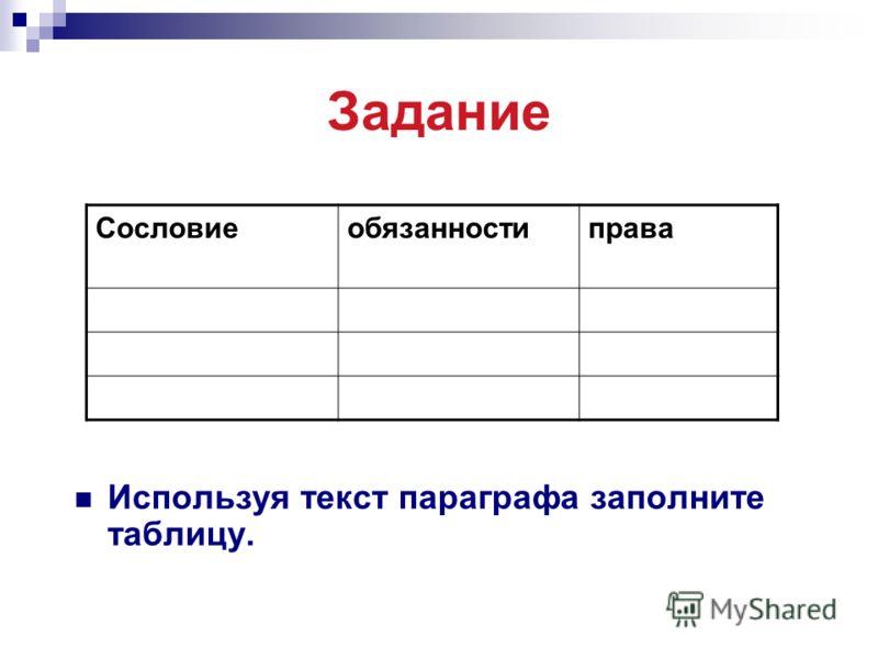 Задание Используя текст параграфа заполните таблицу. Сословиеобязанностиправа