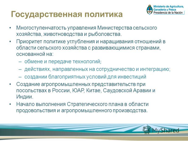 Государственная политика Многоступенчатость управления Министерства сельского хозяйства, животноводства и рыболовства. Приоритет политике углубления и наращивания отношений в области сельского хозяйства с развивающимися странами, основанной на: –обме
