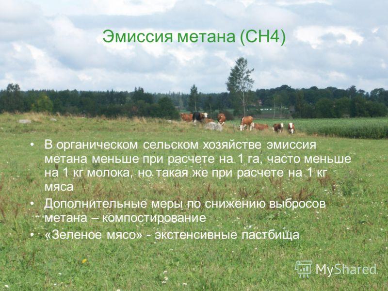 13 Эмиссия метана (СН4) В органическом сельском хозяйстве эмиссия метана меньше при расчете на 1 га, часто меньше на 1 кг молока, но такая же при расчете на 1 кг мяса Дополнительные меры по снижению выбросов метана – компостирование «Зеленое мясо» -