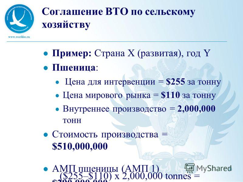 www.worldec.ru 36 Соглашение ВТО по сельскому хозяйству Пример: Страна Х (развитая), год Y Пшеница: Цена для интервенции = $255 за тонну Цена мирового рынка = $110 за тонну Внутреннее производство = 2,000,000 тонн Стоимость производства = $510,000,00