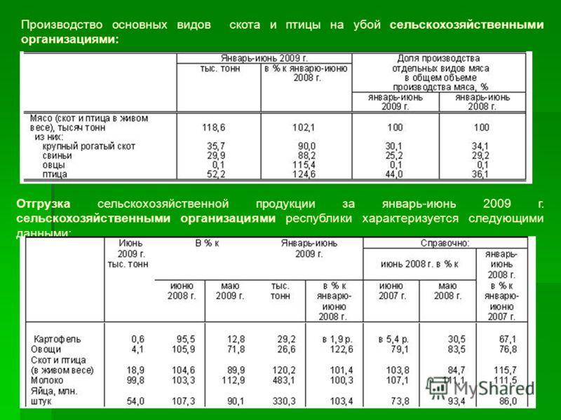 Производство основных видов скота и птицы на убой сельскохозяйственными организациями: Отгрузка сельскохозяйственной продукции за январь-июнь 2009 г. сельскохозяйственными организациями республики характеризуется следующими данными: