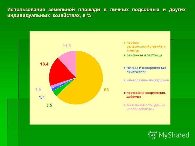 Использование земельной площади в личных подсобных и других индивидуальных хозяйствах, в %
