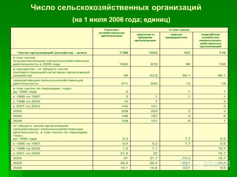 Число сельскохозяйственных организаций (на 1 июля 2006 года; единиц)