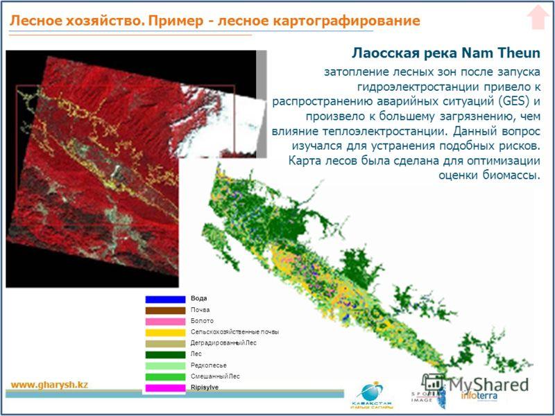 Лесное хозяйство. Пример - лесное картографирование Лаосская река Nam Theun затопление лесных зон после запуска гидроэлектростанции привело к распространению аварийных ситуаций (GES) и произвело к большему загрязнению, чем влияние теплоэлектростанции