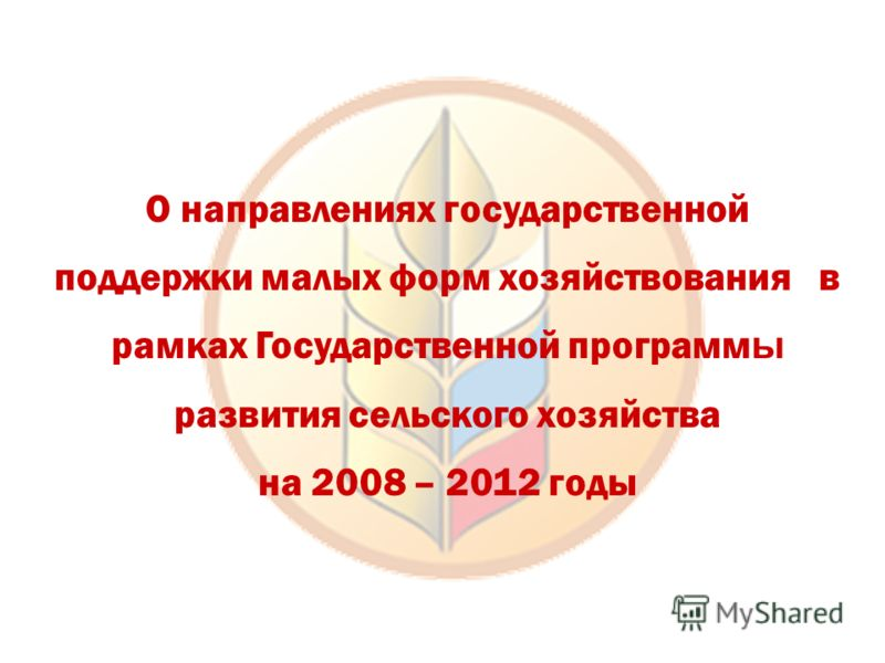 О направлениях государственной поддержки малых форм хозяйствования в рамках Государственной программ ы развития сельского хозяйства на 2008 – 2012 годы