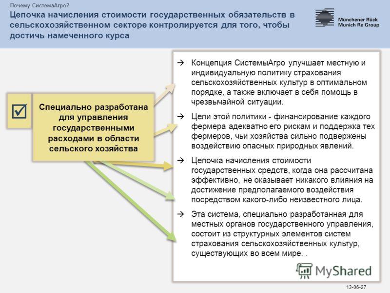 Почему СистемаАгро? Цепочка начисления стоимости государственных обязательств в сельскохозяйственном секторе контролируется для того, чтобы достичь намеченного курса 13-06-27 Концепция СистемыАгро улучшает местную и индивидуальную политику страховани
