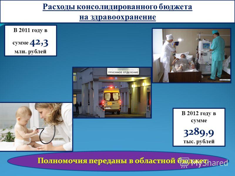 Расходы консолидированного бюджета на здравоохранение В 2011 году в сумме 42,3 млн. рублей В 2012 году в сумме 3289,9 тыс. рублей