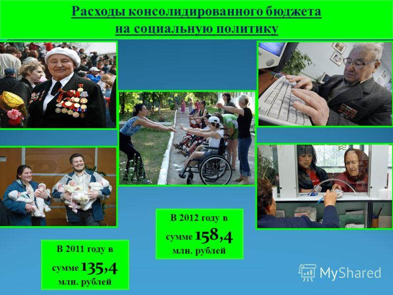 Расходы консолидированного бюджета на социальную политику В 2011 году в сумме 135,4 млн. рублей В 2012 году в сумме 158,4 млн. рублей