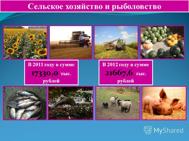 Сельское хозяйство и рыболовство В 2011 году в сумме 17330,0 тыс. рублей В 2012 году в сумме 21667,6 тыс. рублей