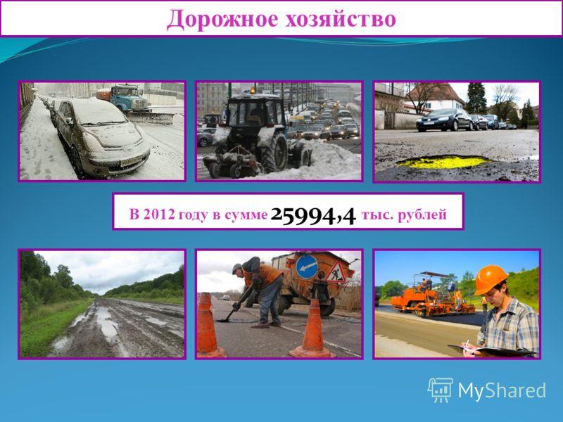 Дорожное хозяйство В 2012 году в сумме 25994,4 тыс. рублей