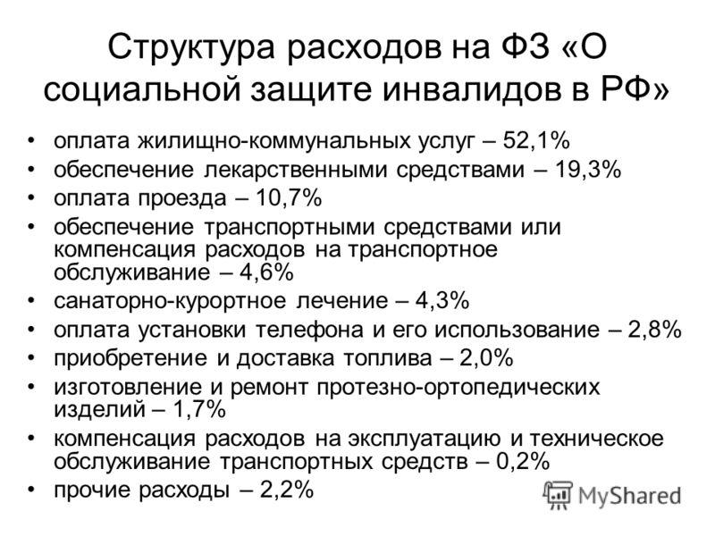Структура расходов на ФЗ «О социальной защите инвалидов в РФ» оплата жилищно-коммунальных услуг – 52,1% обеспечение лекарственными средствами – 19,3% оплата проезда – 10,7% обеспечение транспортными средствами или компенсация расходов на транспортное
