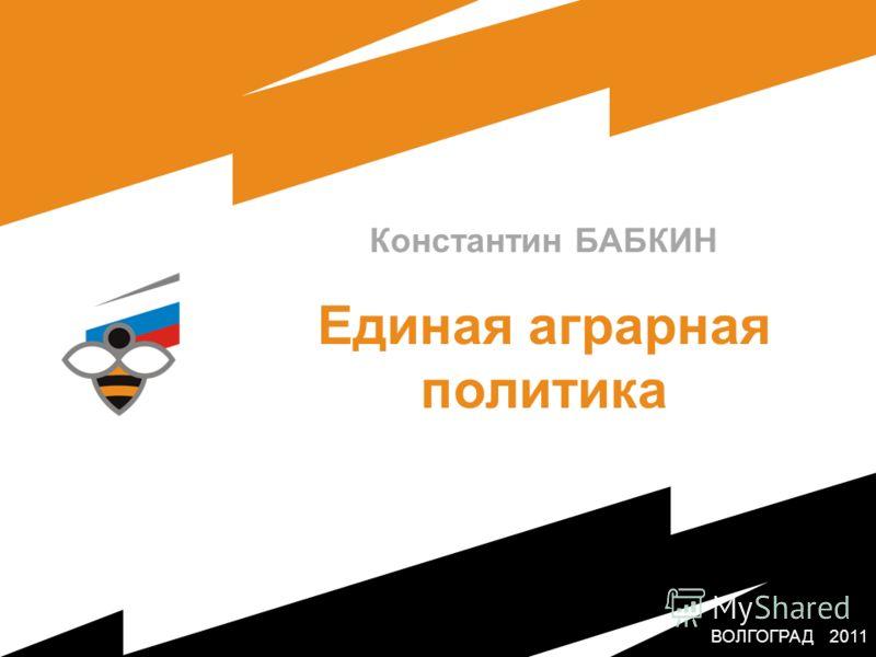 ВОЛГОГРАД 2011 Константин БАБКИН Единая аграрная политика МОСКВА 2011