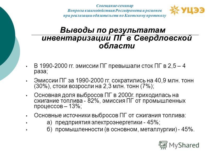 Выводы по результатам инвентаризации ПГ в Свердловской области В 1990-2000 гг. эмиссии ПГ превышали сток ПГ в 2,5 – 4 раза; Эмиссии ПГ за 1990-2000 гг. сократились на 40,9 млн. тонн (30%), стоки возросли на 2,3 млн. тонн (7%); Основная доля выбросов