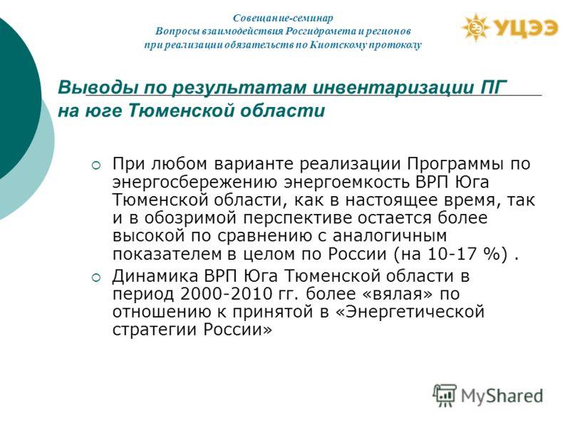 Выводы по результатам инвентаризации ПГ на юге Тюменской области При любом варианте реализации Программы по энергосбережению энергоемкость ВРП Юга Тюменской области, как в настоящее время, так и в обозримой перспективе остается более высокой по сравн