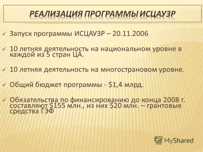 Запуск программы ИСЦАУЗР – 20.11.2006 10 летняя деятельность на национальном уровне в каждой из 5 стран ЦА. 10 летняя деятельность на многострановом уровне. Общий бюджет программы - $1,4 млрд. Обязательства по финансированию до конца 2008 г. составля