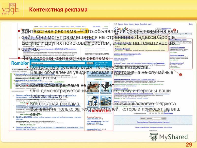 29 Контекстная реклама Контекстная реклама это объявления со ссылками на ваш сайт. Они могут размещаться на страницах Яндекса Google, Бегуне и других поисковых систем, а также на тематических сайтах. Чем хороша контекстная реклама: Контекстную реклам