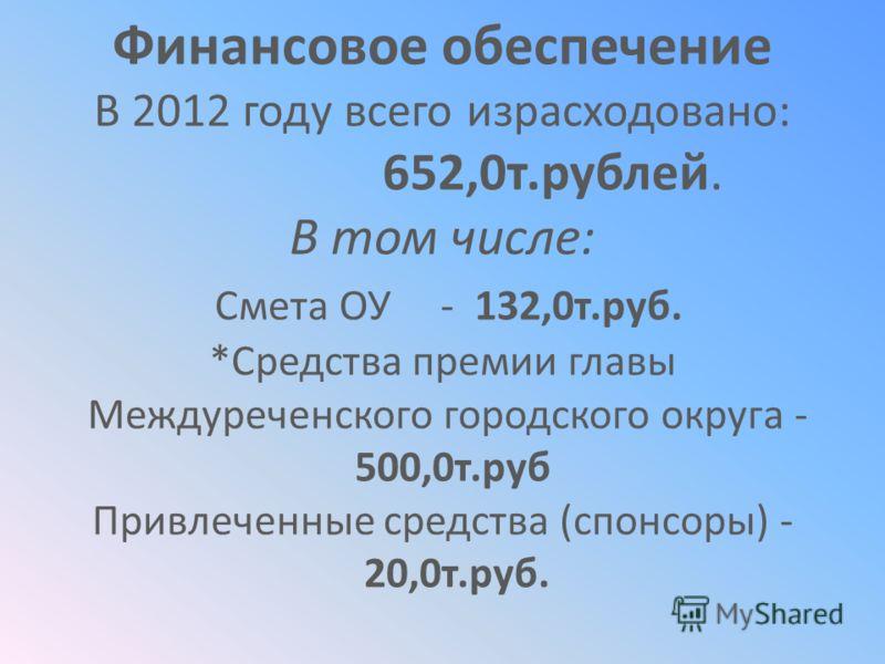 Финансовое обеспечение В 2012 году всего израсходовано: 652,0т.рублей. В том числе: Смета ОУ - 132,0т.руб. *Средства премии главы Междуреченского городского округа - 500,0т.руб Привлеченные средства (спонсоры) - 20,0т.руб.