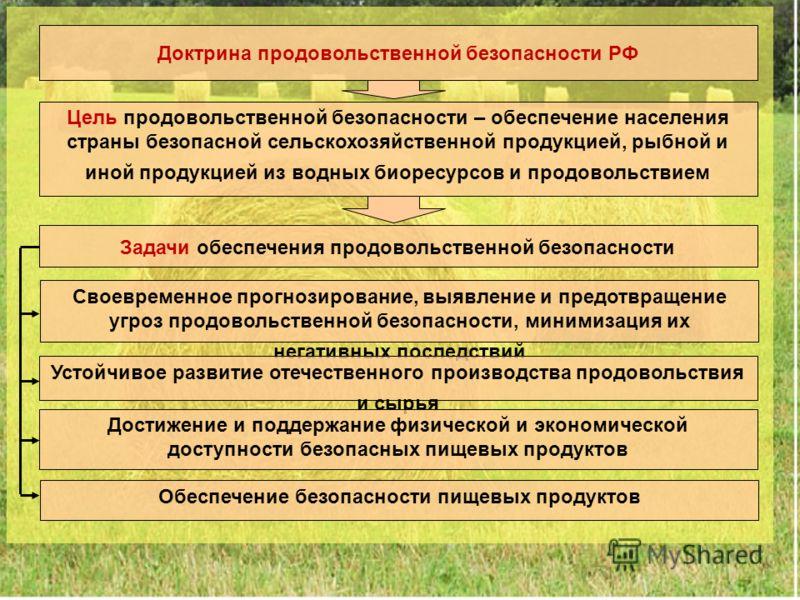 3 Доктрина продовольственной безопасности РФ Цель продовольственной безопасности – обеспечение населения страны безопасной сельскохозяйственной продукцией, рыбной и иной продукцией из водных биоресурсов и продовольствием Задачи обеспечения продовольс