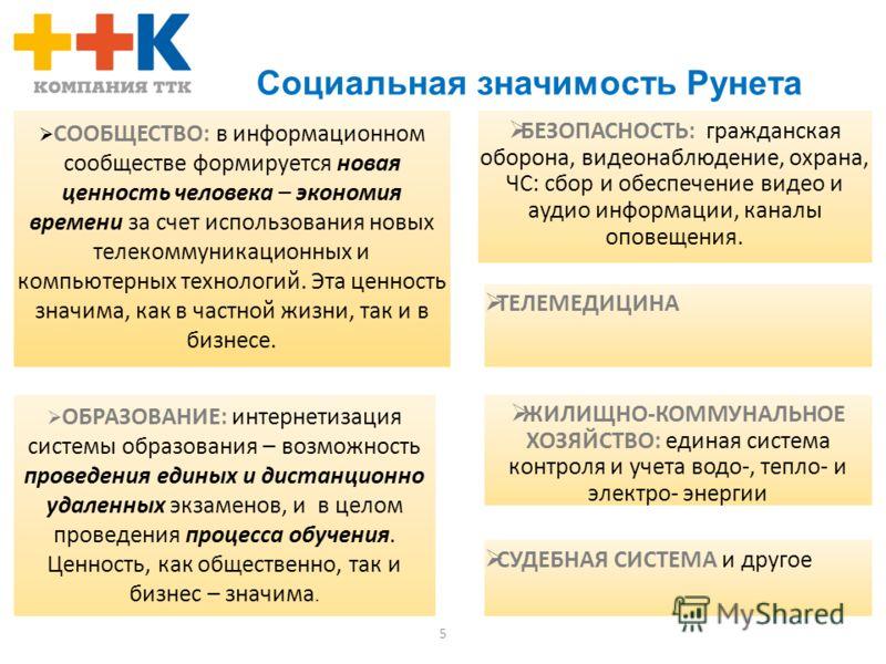 5 Социальная значимость Рунета СООБЩЕСТВО: в информационном сообществе формируется новая ценность человека – экономия времени за счет использования новых телекоммуникационных и компьютерных технологий. Эта ценность значима, как в частной жизни, так и