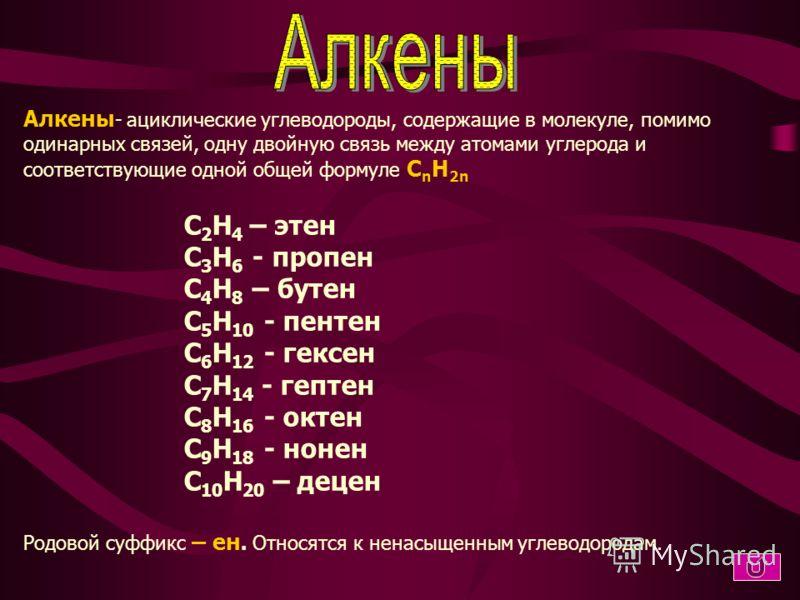 Алканы - ациклические углеводороды, в молекулах которых атомы связаны одинарными связями и которые соответствуют одной общей формуле C n H 2n+2 CH 4 - метан C 2 H 6 - этан C 3 H 8 - пропан C 4 H 10 - бутан C 5 H 12 - пентан C 6 H 14 - гексан C 7 H 16