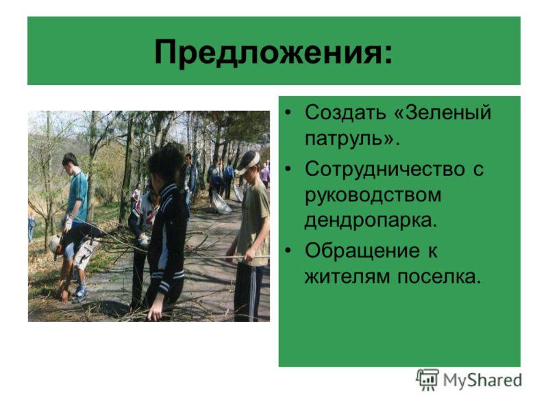Предложения: Создать «Зеленый патруль». Сотрудничество с руководством дендропарка. Обращение к жителям поселка.